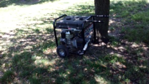 One of many gas powered generators running all day at Modesto's Earth Day Festival last year.