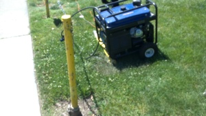 Yet another gas powered generator running throughout Modesto's Earth Day last year.