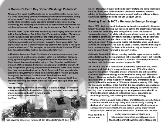 Flyer handed out at Modesto's Earth Day Festival 2015